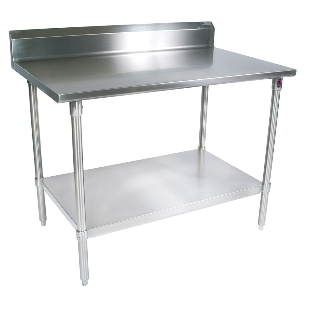 "John Boos ST4R5-2496SSK 96"" 14-ga Work Table w/ Undershelf & 300-Series Stainless Top, 5"" Backsplash"