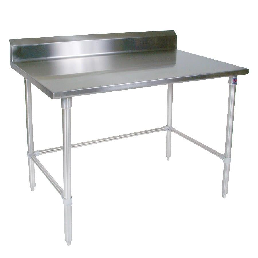"""John Boos ST4R5-3096SBK 96"""" 14 ga Work Table w/ Open Base & 300 Series Stainless Top, 5"""" Backsplash"""