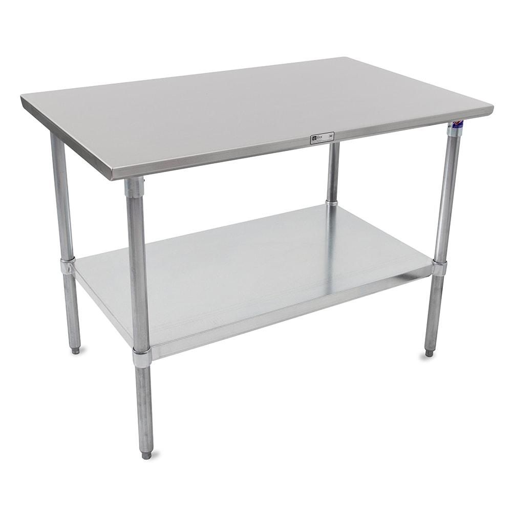 "John Boos ST6-24108GSK 108"" 16 ga Work Table w/ Undershelf & 300 Series Stainless Flat Top"