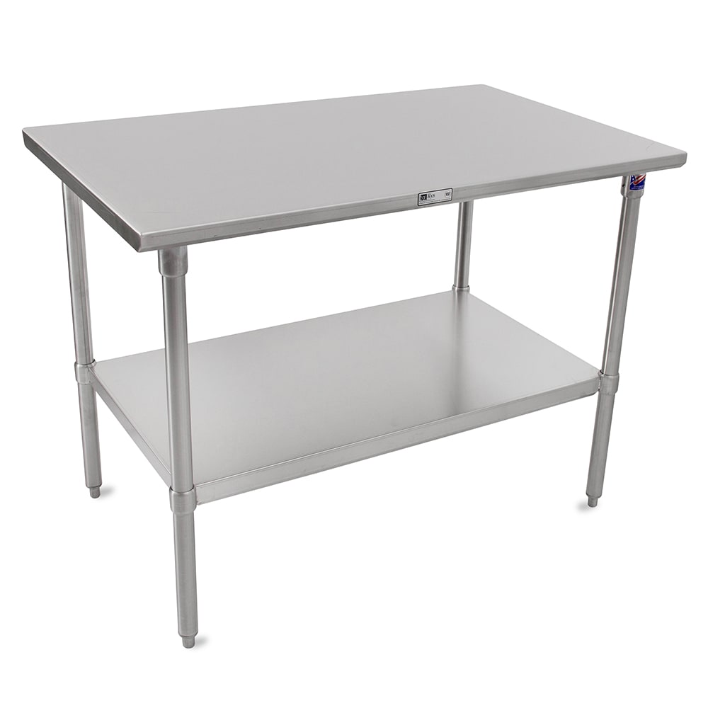 "John Boos ST6-24108SSK 108"" 16-ga Work Table w/ Undershelf & 300-Series Stainless Flat Top"