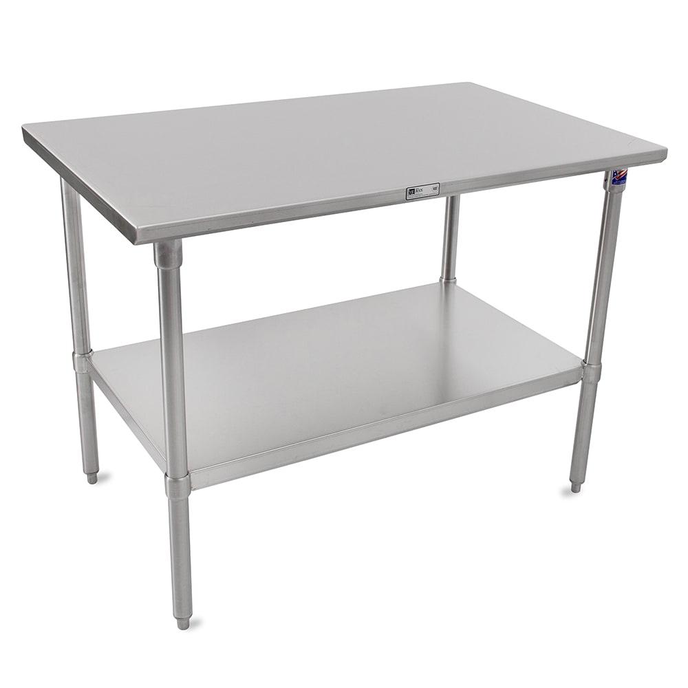 "John Boos ST6-24120SSK 120"" 16-ga Work Table w/ Undershelf & 300-Series Stainless Flat Top"