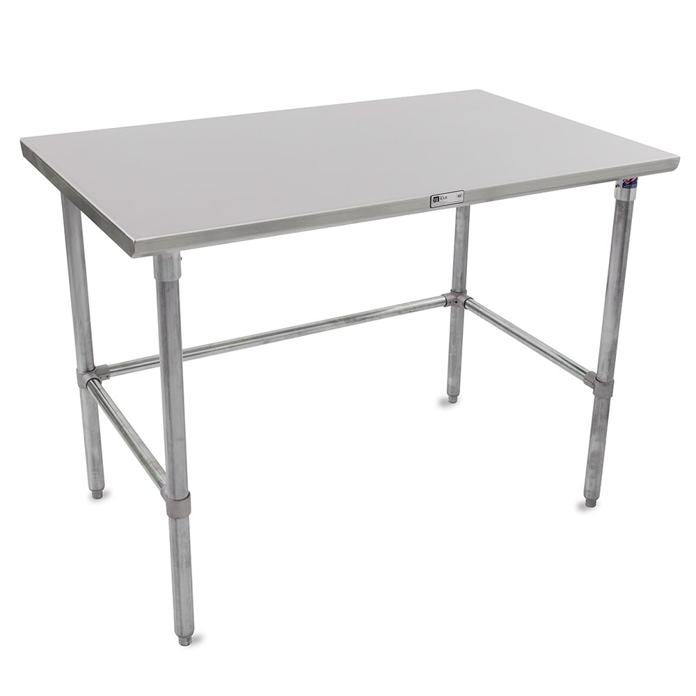 "John Boos ST6-2496GBK 96"" 16 ga Work Table w/ Open Base & 300 Series Stainless Flat Top"
