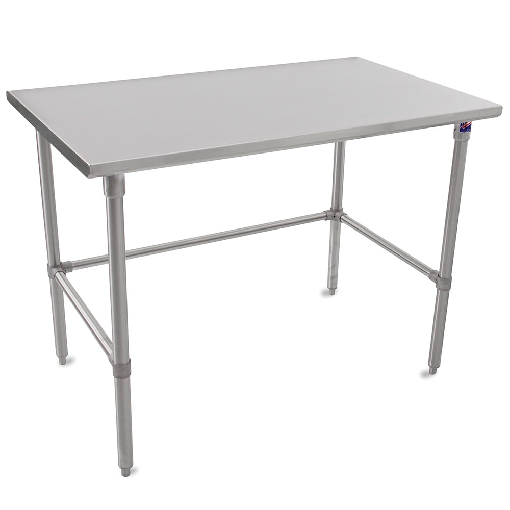 "John Boos ST6-30108SBK 108"" 16-ga Work Table w/ Open Base & 300-Series Stainless Flat Top"