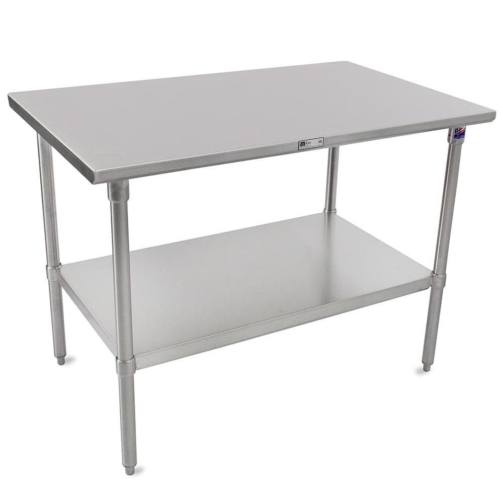 "John Boos ST6-30108SSK 108"" 16 ga Work Table w/ Undershelf & 300 Series Stainless Flat Top"