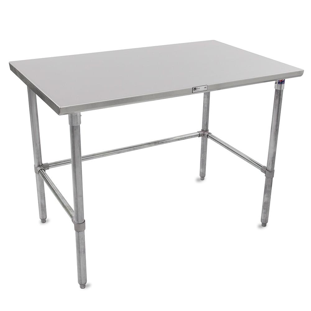 "John Boos ST6-30120GBK 120"" 16 ga Work Table w/ Open Base & 300 Series Stainless Flat Top"