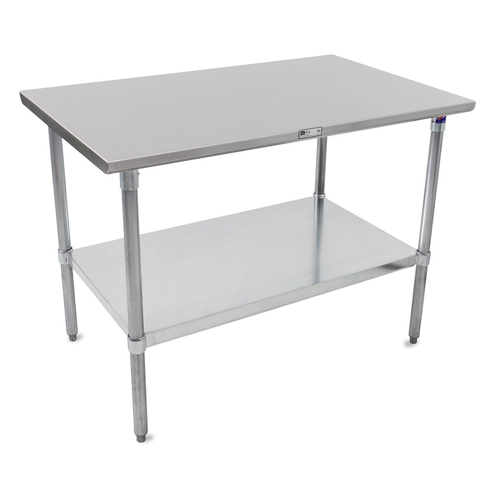 "John Boos ST6-3048GSK 48"" 16-ga Work Table w/ Undershelf & 300-Series Stainless Flat Top"