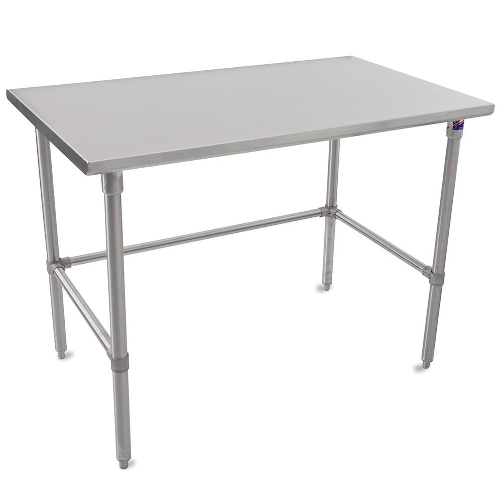 """John Boos ST6-3672SBK 72"""" 16 ga Work Table w/ Open Base & 300 Series Stainless Flat Top"""