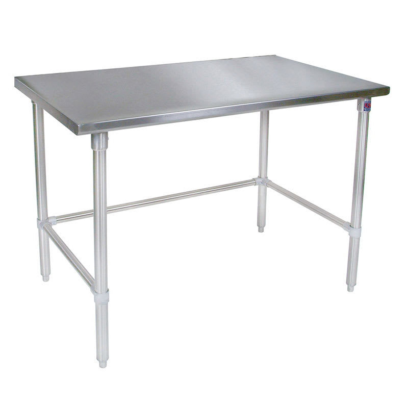 "John Boos ST6-3696GBK 96"" 16 ga Work Table w/ Open Base & 300 Series Stainless Flat Top"