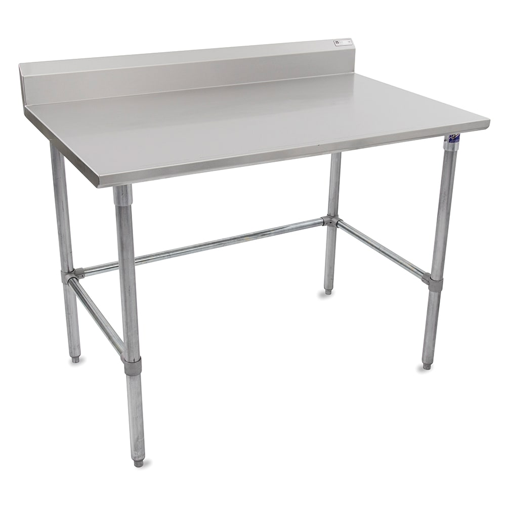 "John Boos ST6R5-24108GBK 108"" 16 ga Work Table w/ Open Base & 300 Series Stainless Top, 5"" Backsplash"