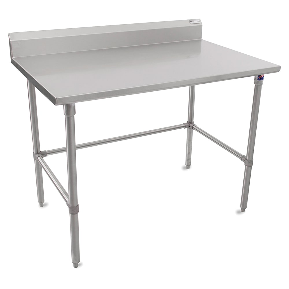 """John Boos ST6R5-24120SBK 120"""" 16 ga Work Table w/ Open Base & 300 Series Stainless Top, 5"""" Backsplash"""