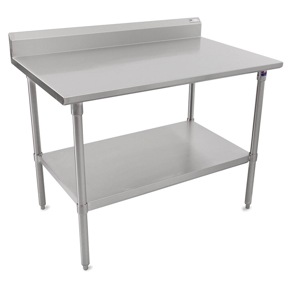 "John Boos ST6R5-24120SSK 120"" 16-ga Work Table w/ Undershelf & 300-Series Stainless Top, 5"" Backsplash"
