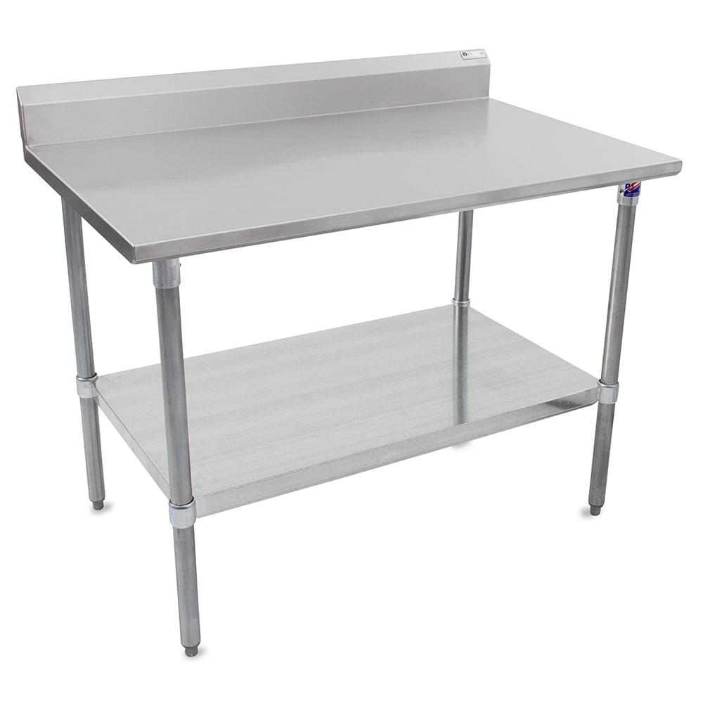 "John Boos ST6R5-2460GSK 60"" 16 ga Work Table w/ Undershelf & 300 Series Stainless Top, 5"" Backsplash"