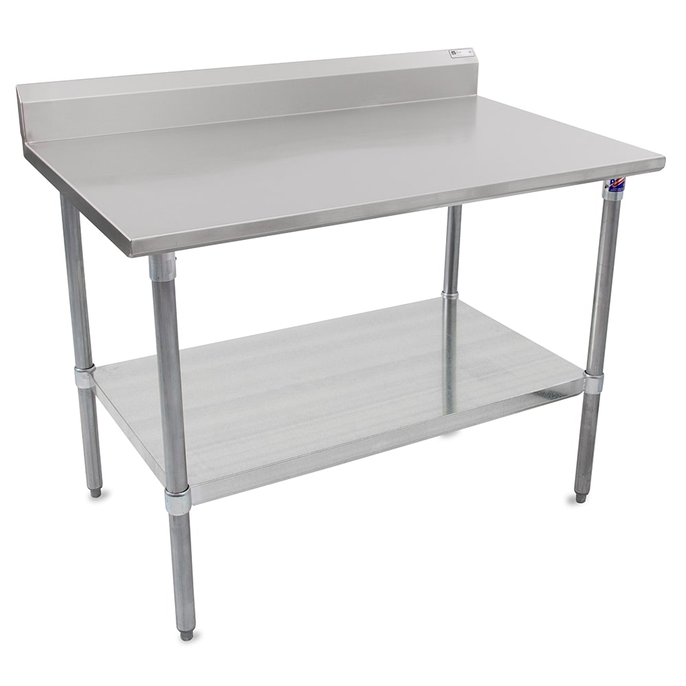 "John Boos ST6R5-30120GSK 120"" 16-ga Work Table w/ Undershelf & 300-Series Stainless Top, 5"" Backsplash"