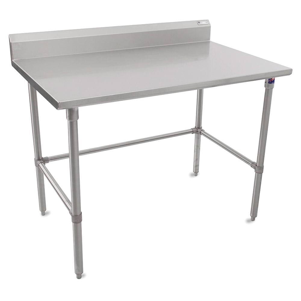 """John Boos ST6R5-3048SBK 48"""" 16 ga Work Table w/ Open Base & 300 Series Stainless Top, 5"""" Backsplash"""