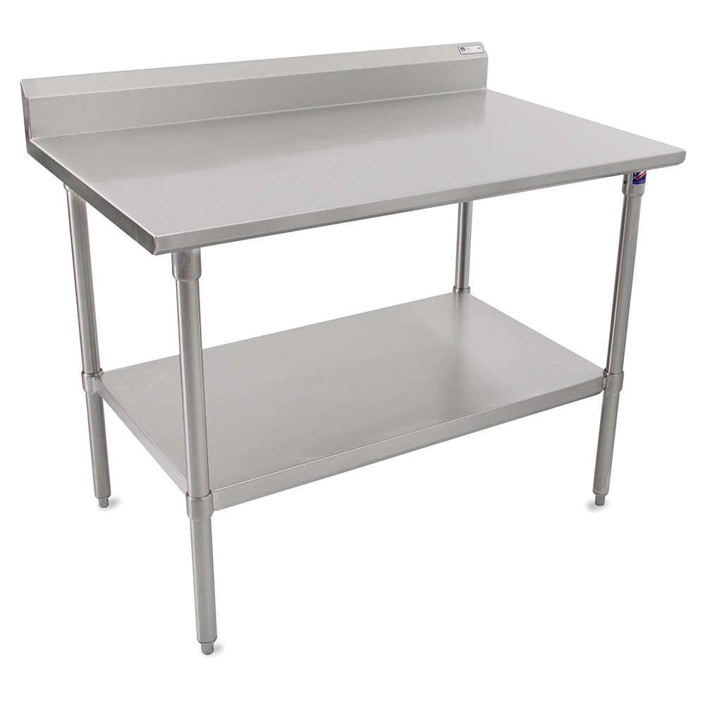 "John Boos ST6R5-3096SSK 96"" 16 ga Work Table w/ Undershelf & 300 Series Stainless Top, 5"" Backsplash"