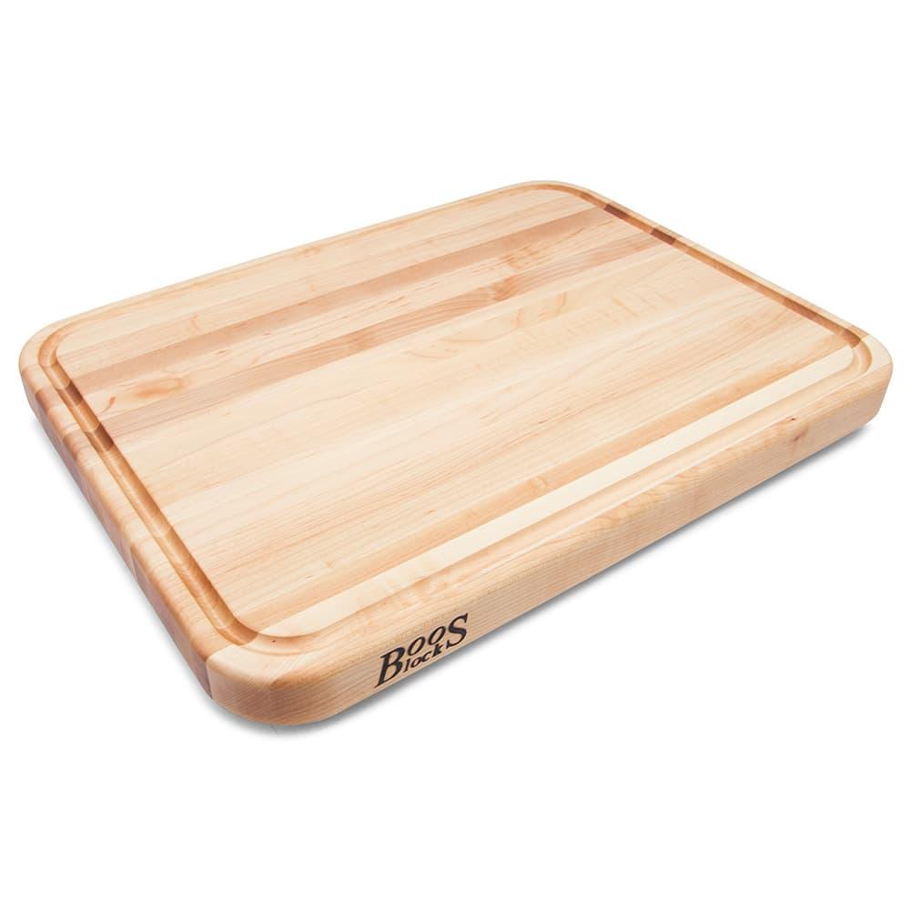 """John Boos TEN2418 Cutting Board w/ Juice Groove - Stainless Feet, 24x18x2"""", Northern Hard Rock Maple"""