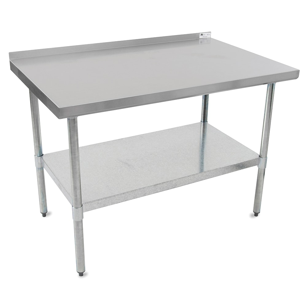 "John Boos UFBLG9618 96"" 18-ga Work Table w/ Undershelf & 430-Series Stainless Top, 1.5"" Backsplash"