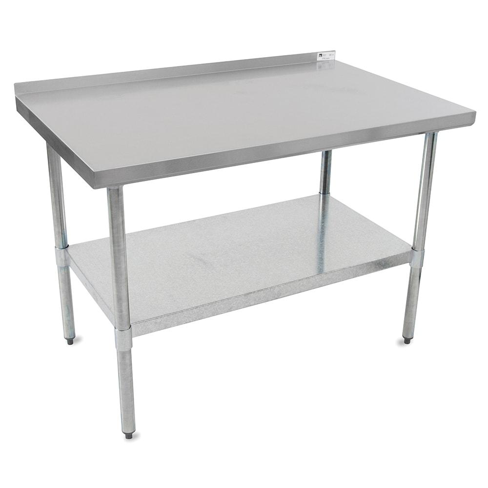 "John Boos UFBLG9630 96"" 18 ga Work Table w/ Undershelf & 430 Series Stainless Top, 1.5"" Backsplash"