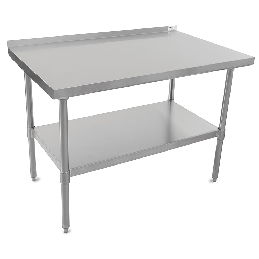 "John Boos UFBLS9618 96"" 18 ga Work Table w/ Undershelf & 430 Series Stainless Top, 1.5"" Backsplash"