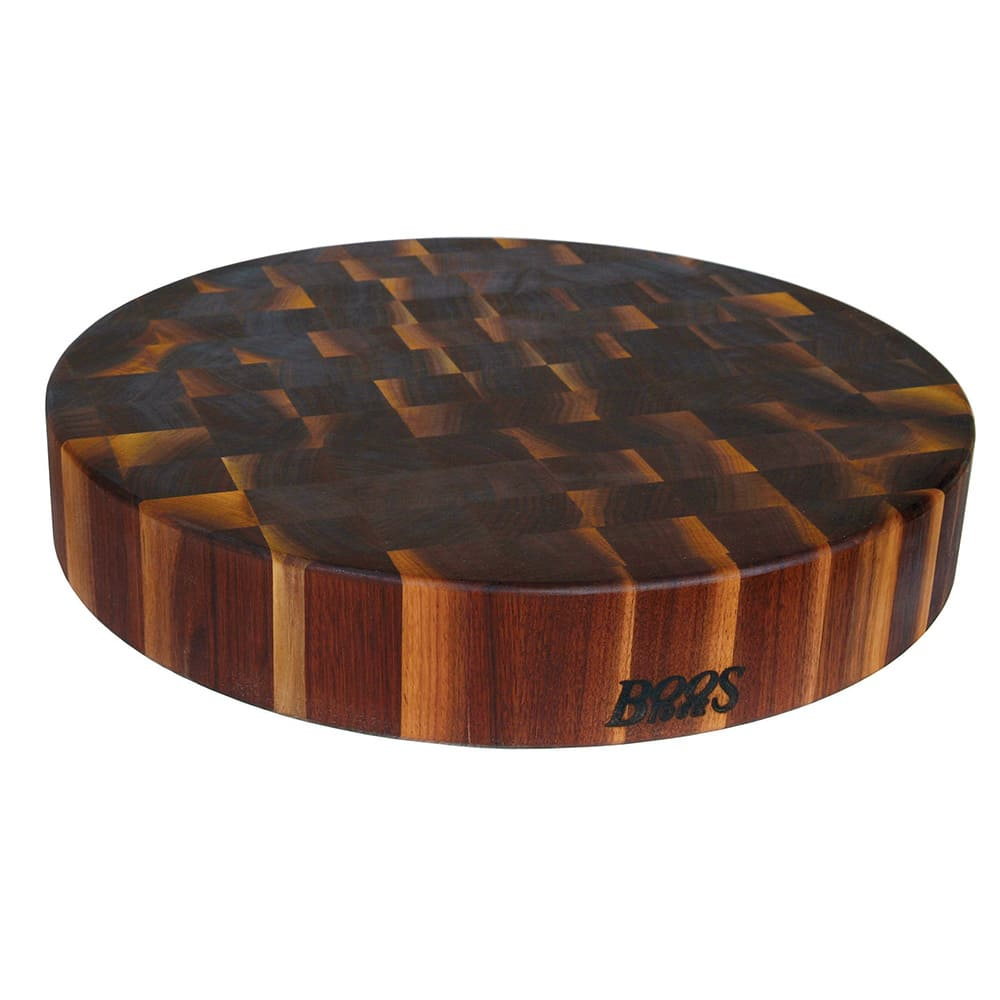 "John Boos WAL-CCB183-R Walnut Chopping Block, Non-Reversible, End Grain, 18"" Dia x 3"" Thick"