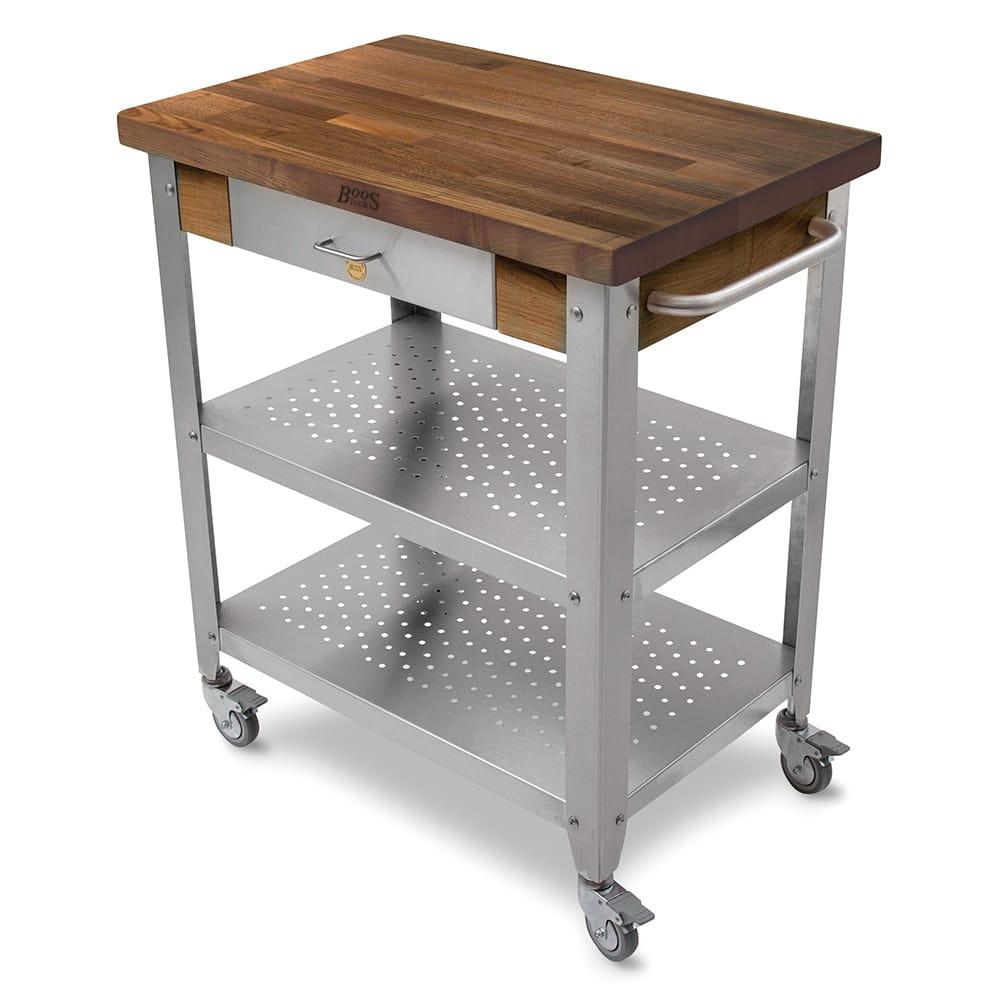 "John Boos WAL-CUCE30 Cart w/ Walnut Top & (2) Shelves, 20x30x35"""