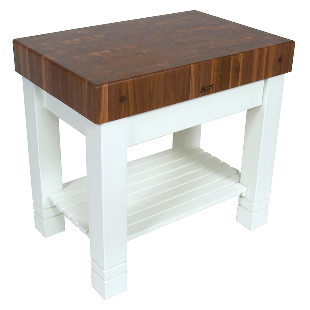 "John Boos WAL-HMST36245-AL Homestead Block Table, 5"" End Grain Black Walnut, Alabaster Base, 36 x 24"""