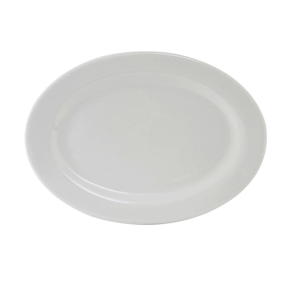 """Tuxton ALH-136 Oval Alaska Platter - 13.75"""" x 10"""", Ceramic, Porcelain White"""