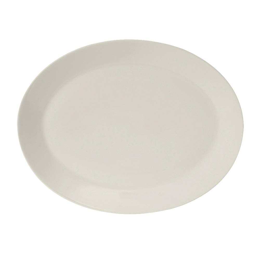 "Tuxton AMU-022 Oval Modena Platter - 12"" x 9.5"", Ceramic, Pearl White"
