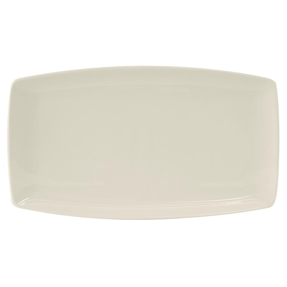 "Tuxton BEH-140Q Rectangular Plate - 14"" x 8"", Ceramic, American White"