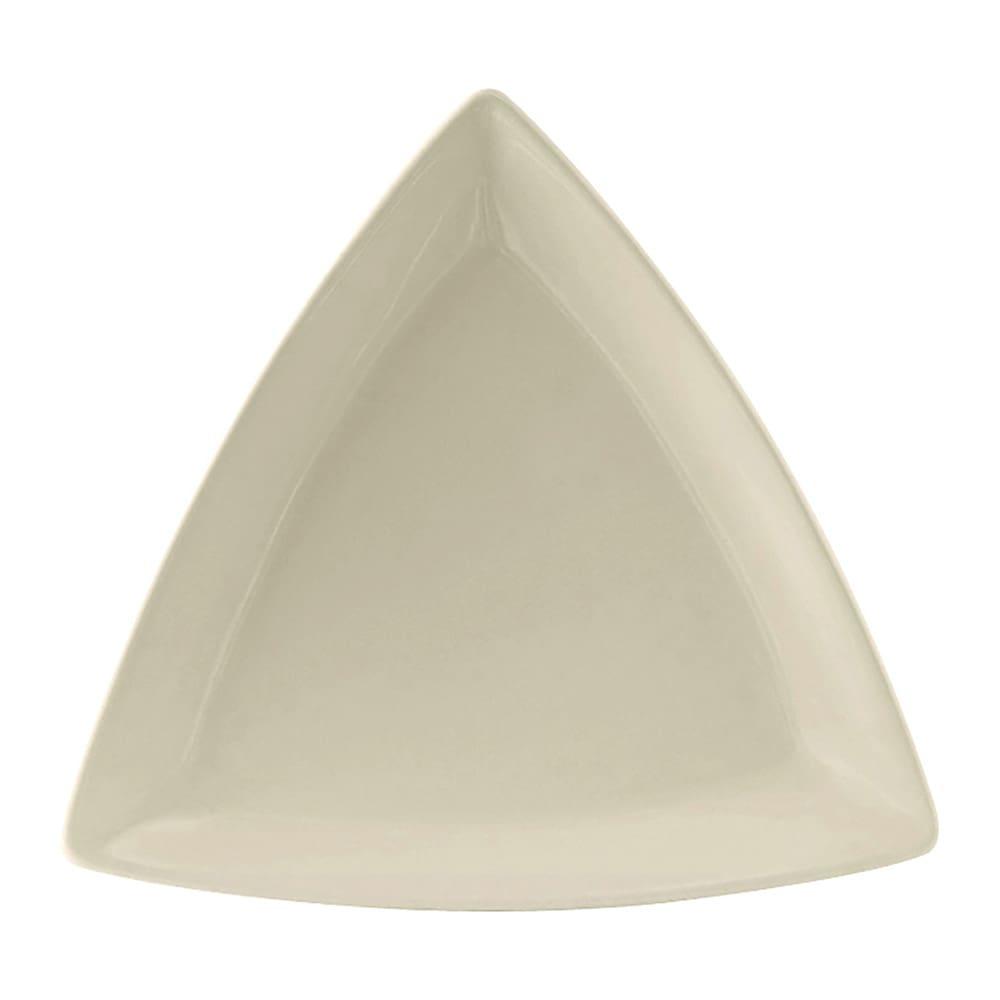 "Tuxton BEZ-0728 7.25"" Triangular Plate - Ceramic, American White"
