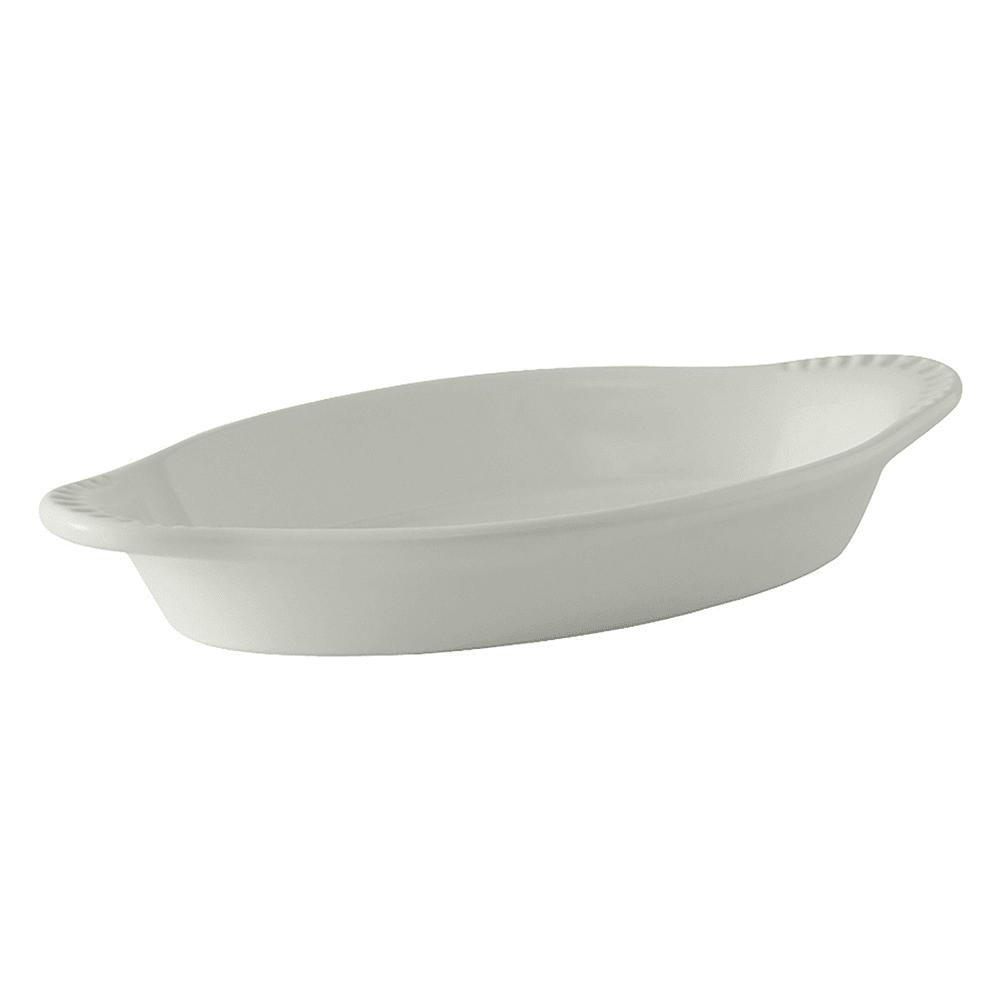 Tuxton BWN-150 17 oz Oval Ceramic Welsh Rarebit, White