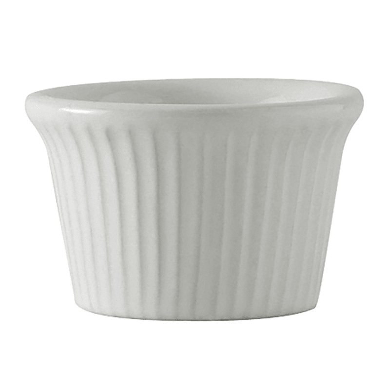 Tuxton BWX-0152 1.5 oz Fluted Ramekin - Ceramic, White