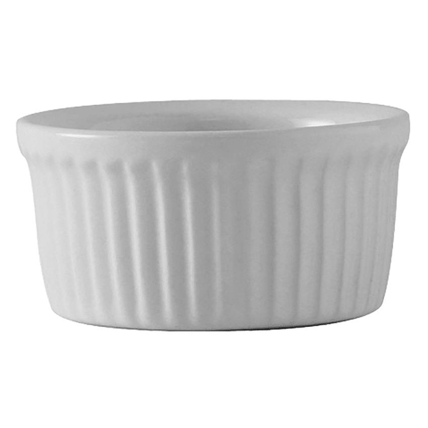 Tuxton BWX-0352 3.5 oz Fluted Ramekin - Ceramic, White