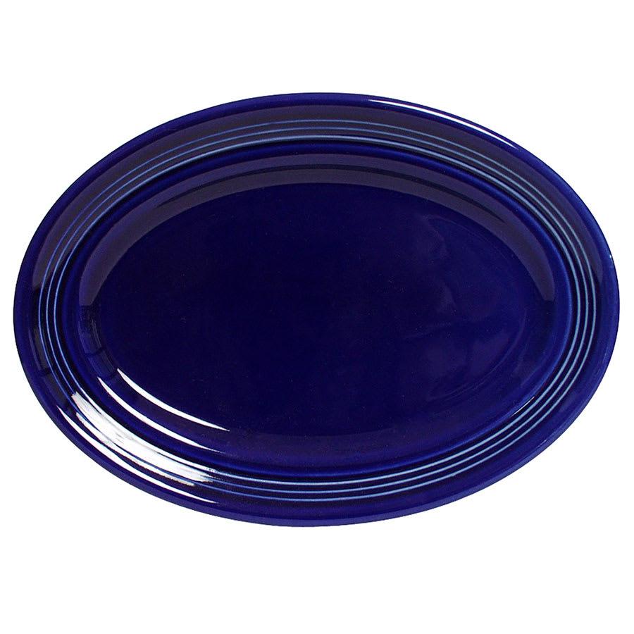 """Tuxton CCH-116 Oval Concentrix Platter - 11.5"""" x 8.38"""", Ceramic, Cobalt"""