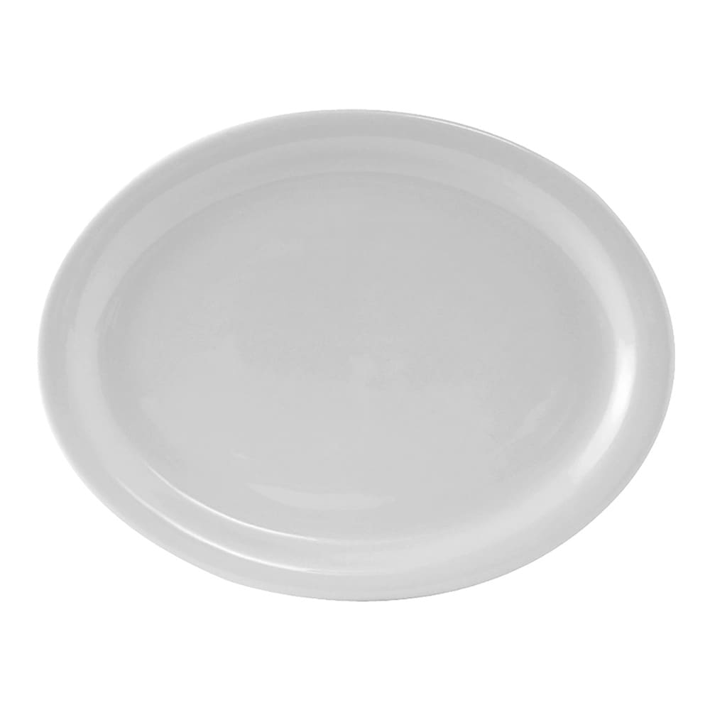 "Tuxton CLH-096 Oval Colorado Platter - 9.75"" x 7.25"", Ceramic, Porcelain White"