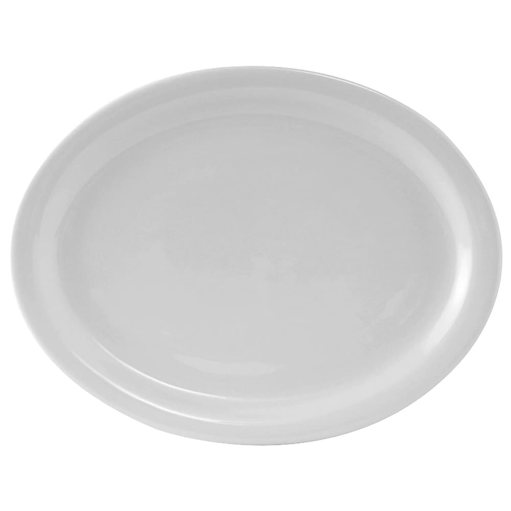 "Tuxton CLH-114 Oval Colorado Platter - 11.13"" x 8.63"", Ceramic, Porcelain White"