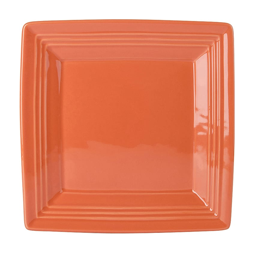 "Tuxton CPH-0845 8-1/2"" Square Plate - China, Papaya"
