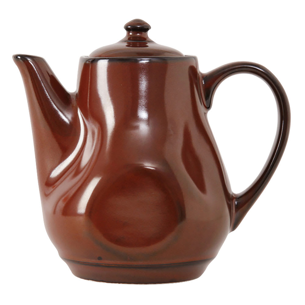 Tuxton GAR-101 17 oz Ceramic Teapot with Lid - Red Rock
