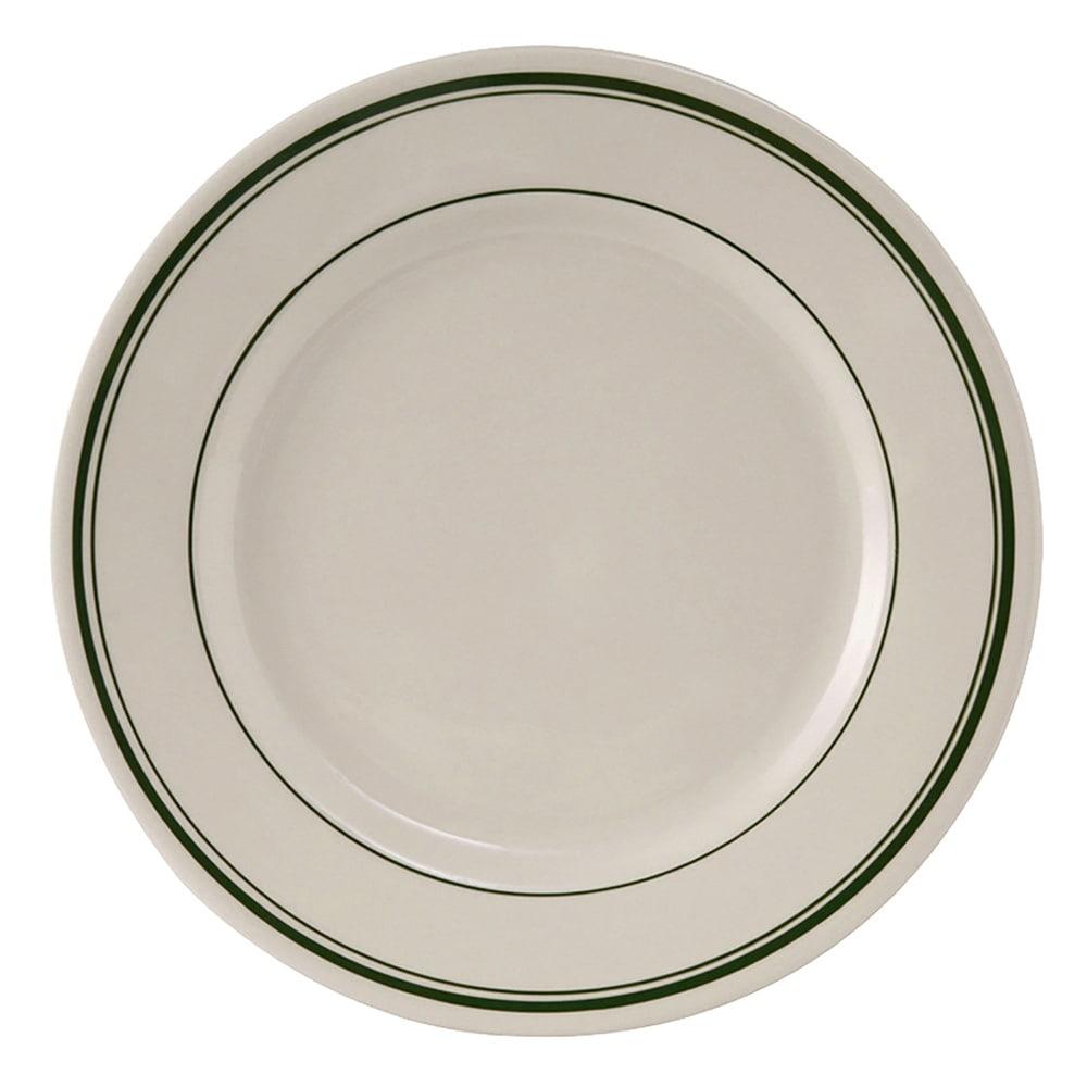 "Tuxton TGB-008 9"" Round Green Bay Plate - Ceramic, American White"