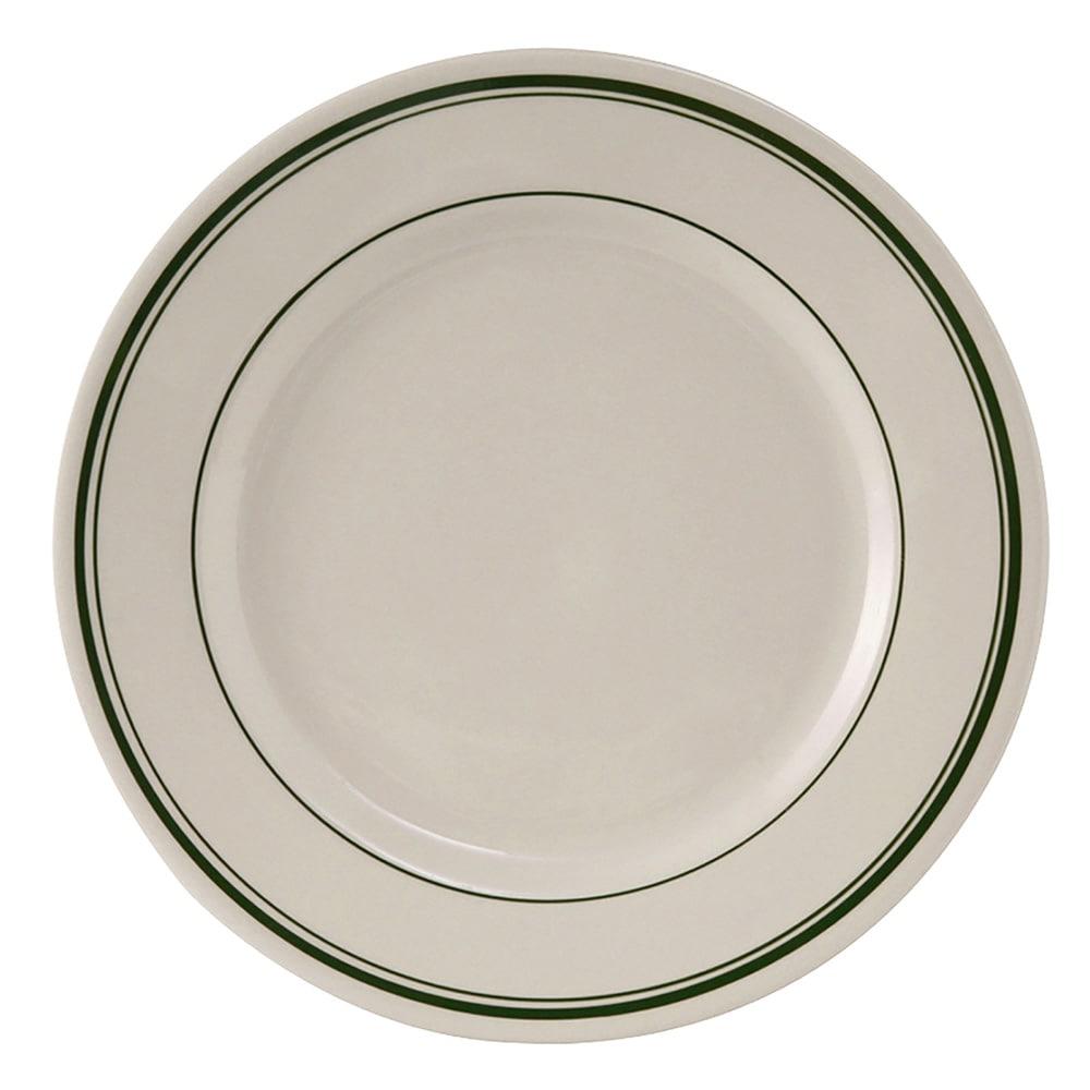 "Tuxton TGB-016 10.5"" Round Green Bay Plate - Ceramic, American White"