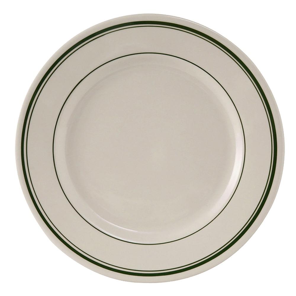 "Tuxton TGB-031 6.25"" Round Green Bay Plate - Ceramic, American White"