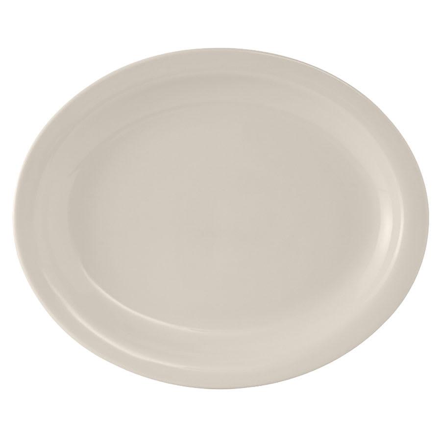 Tuxton TNR-012 American White Narrow Rim Platter, Nevada, Oval