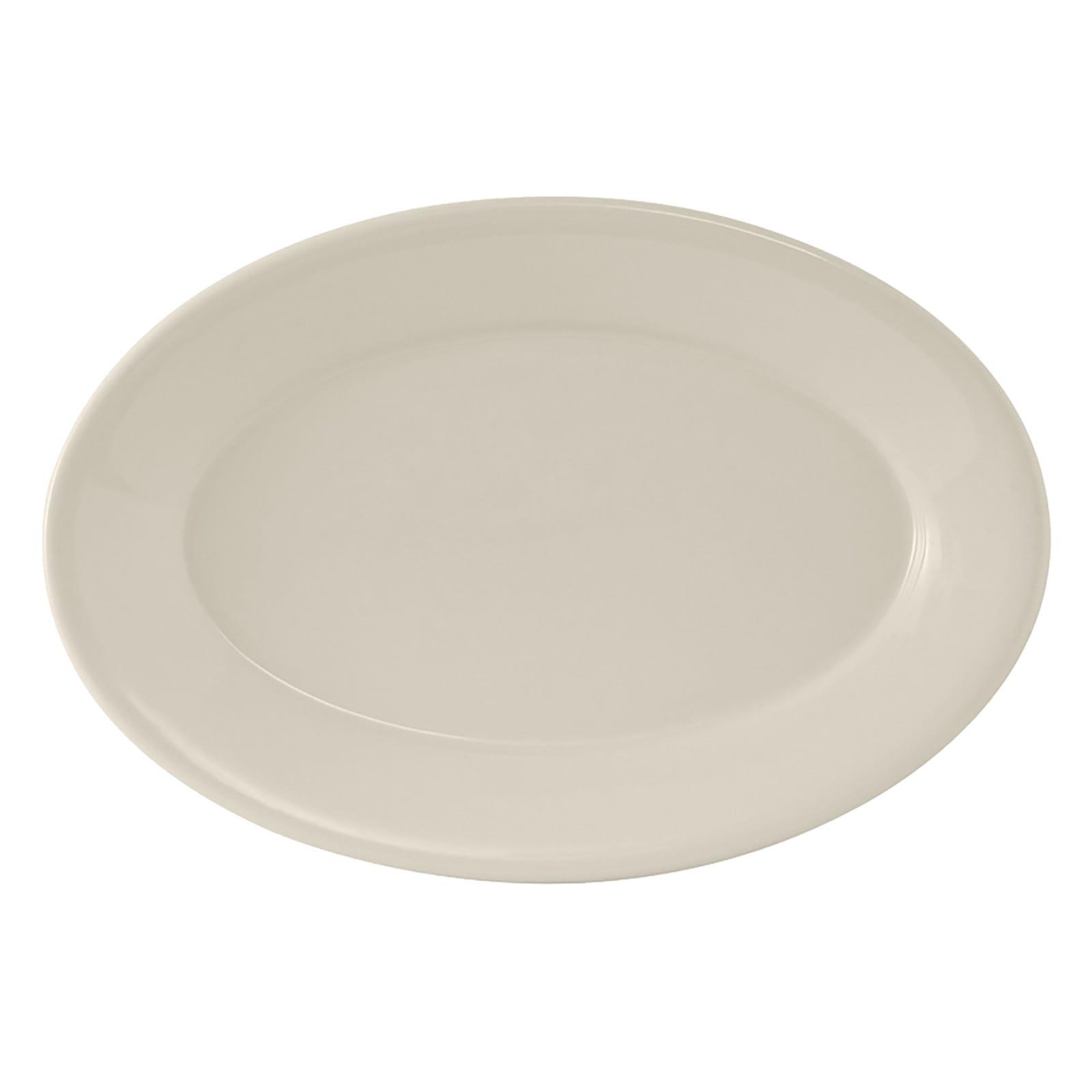 "Tuxton TRE-012 Oval Reno Platter - 10.5"" x 7.38"", Ceramic, American White"