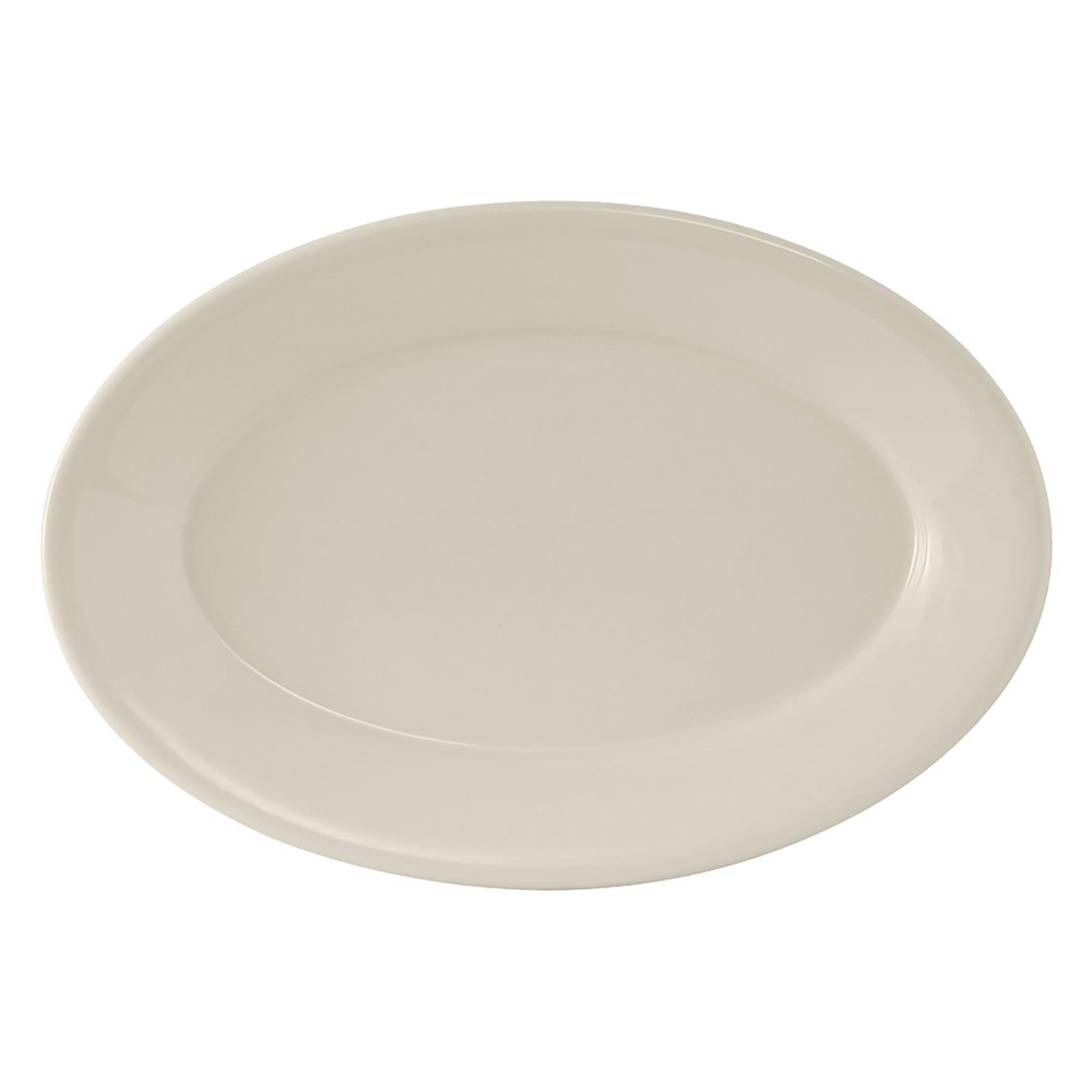 "Tuxton TRE-912 Oval Reno Platter - 10.63"" x 7.38"", Ceramic, American White"