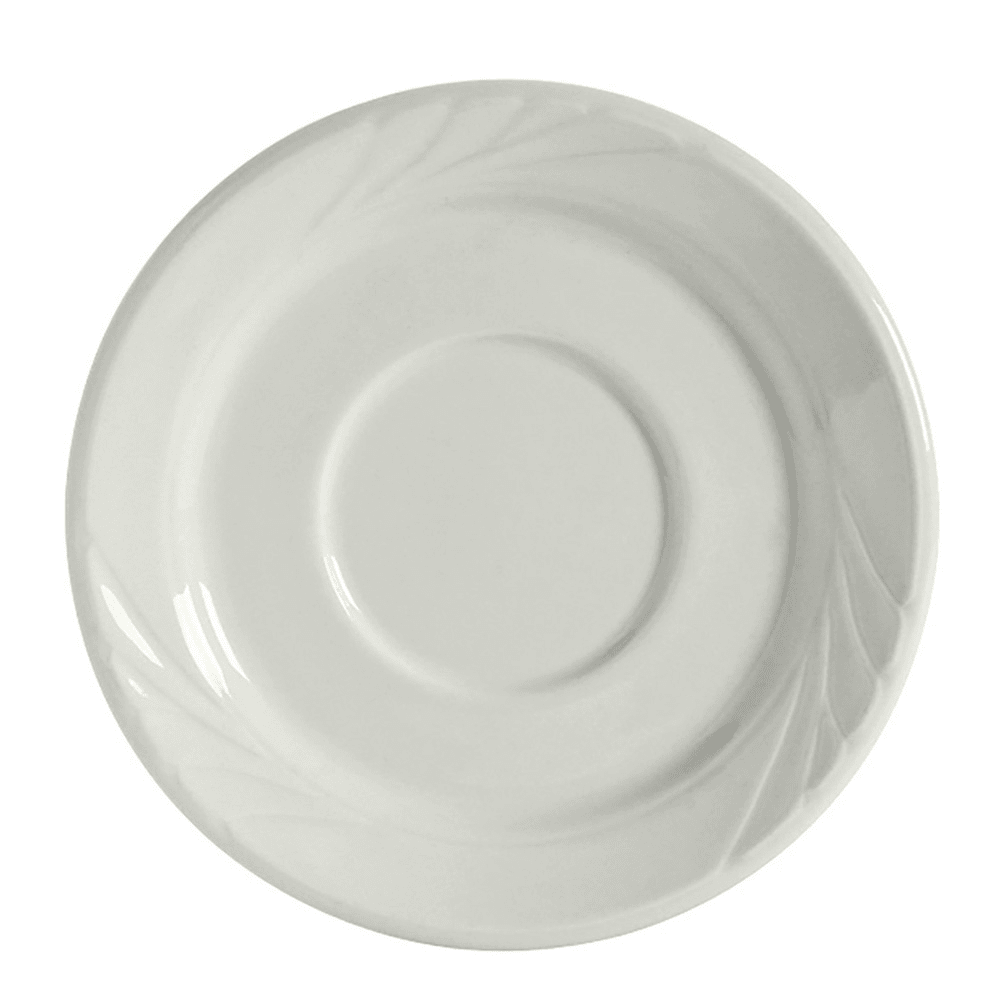 """Tuxton YPE-054 5.5"""" Round Sonoma Saucer - Ceramic, Porcelain White"""