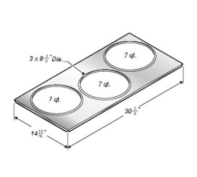 Wells 22589 Adapter Top For SMPT-27 To Hold (3) 7-qt Insets