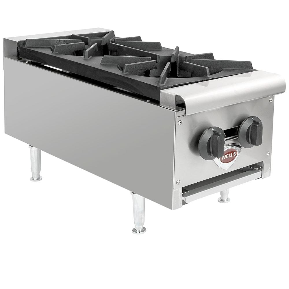 "Wells HDHP-1230G 12.38"" Gas Hotplate w/ (2) Burners & Infinite Controls, NG"
