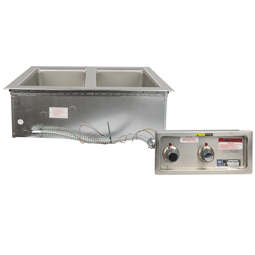 Wells MOD-200TD Drop-In Hot Food Well w/ (2) Full Size Pan Capacity, 208 240v/1ph