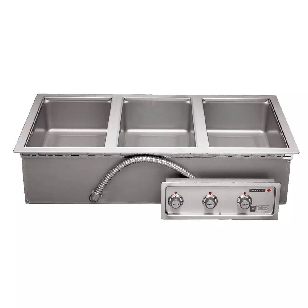 Wells MOD-300T Drop-In Hot Food Well w/ (3) Full Size Pan Capacity, 208 240v/3ph