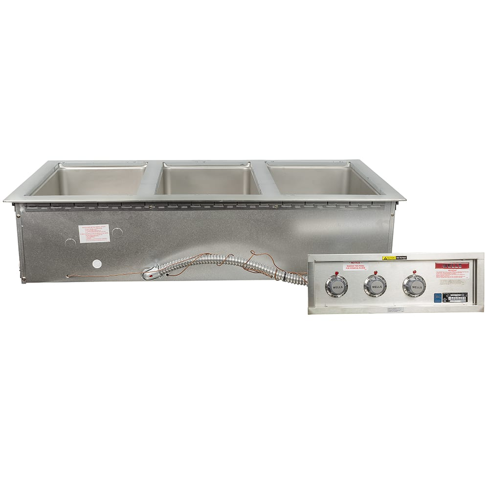 Wells MOD-300TD Drop-In Hot Food Well w/ (3) Full Size Pan Capacity, 208 240v/3ph